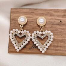 Faux Pearl Heart Drop Earrings