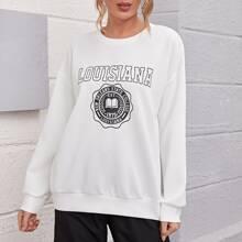 Letter & Geometric Print Drop Shoulder Sweatshirt