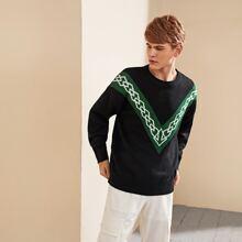 Guys Argyle And Chevron Pattern Sweater