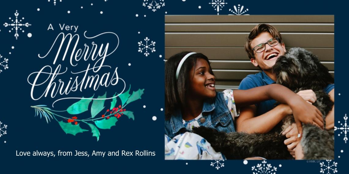 Christmas Photo Cards 4x8 Flat Card Set, 85lb, Card & Stationery -Snowflakes & Mistletoe Merry Christmas Photo Card by Hallmark
