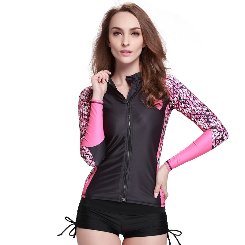 Pink Line Surfing Round Neck Long Sleeve Women Wetsuit