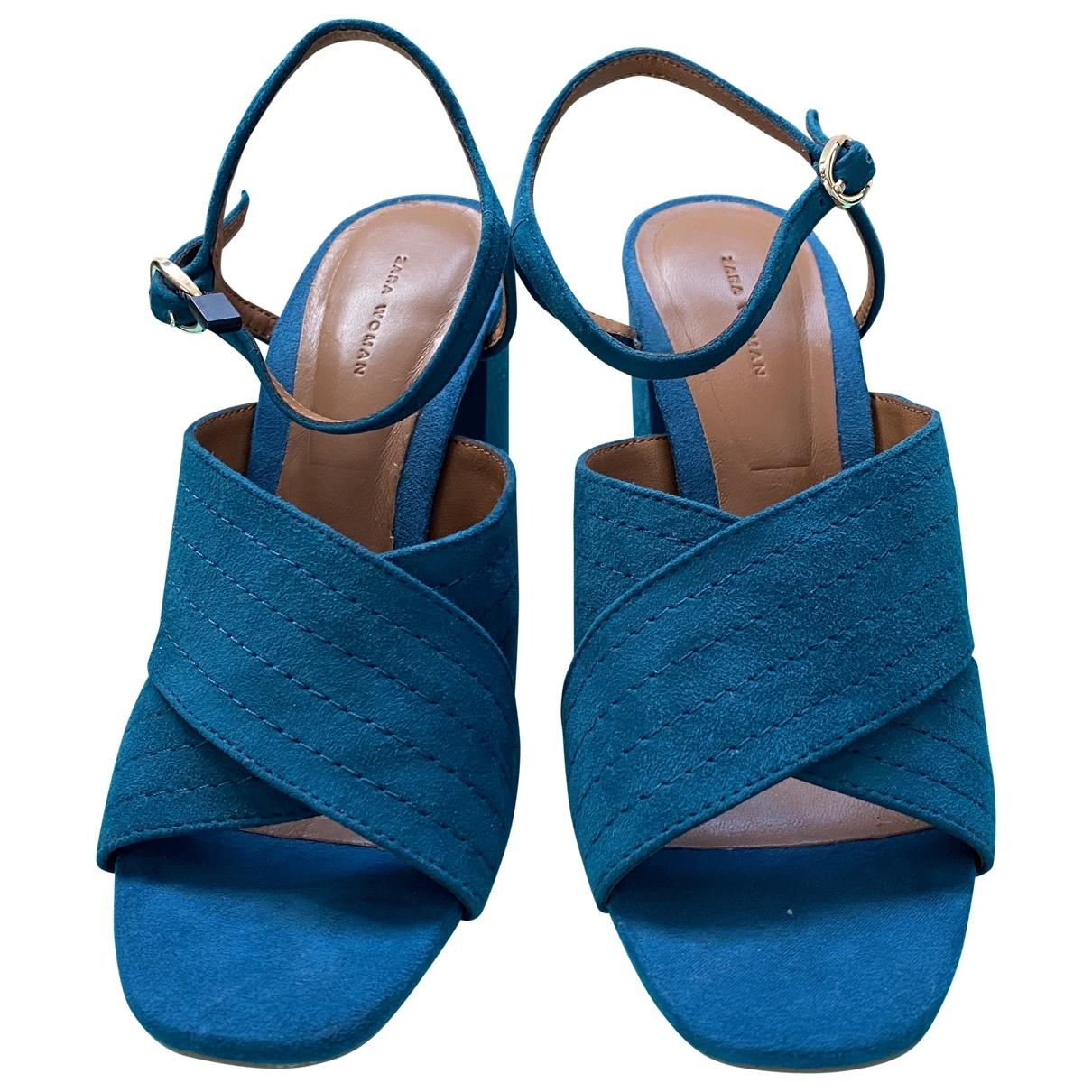 Zara \N Turquoise Leather Sandals for Women 36 EU