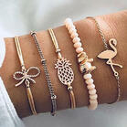 5Pcs Flamingo Pineapple Bowknot Beading Bracelet - Gold