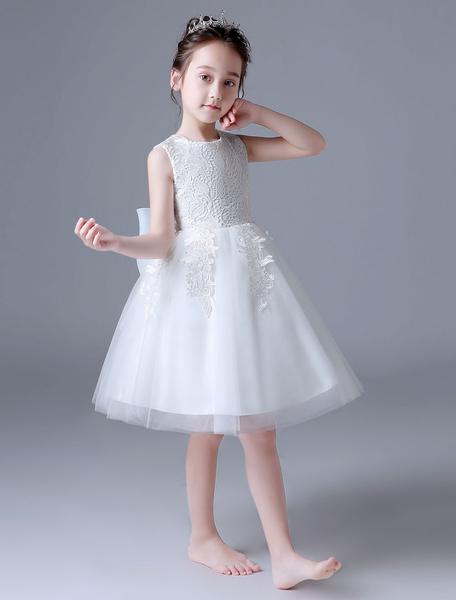 Milanoo Flower Girl Dresses Ivory Lace Tutu Dress Sleeveless Bows Kids Formal Party Dress