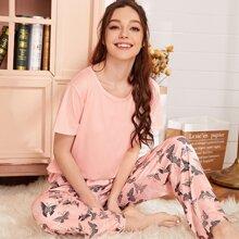 Conjunto de pijama con estampado de mariposa