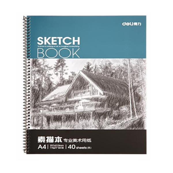 Deli 7698 A4 Art Sketchbook Graffiti Drawing Book Pure Wood Pulp Double Adhesive Painting Paper Stationery School Sketch