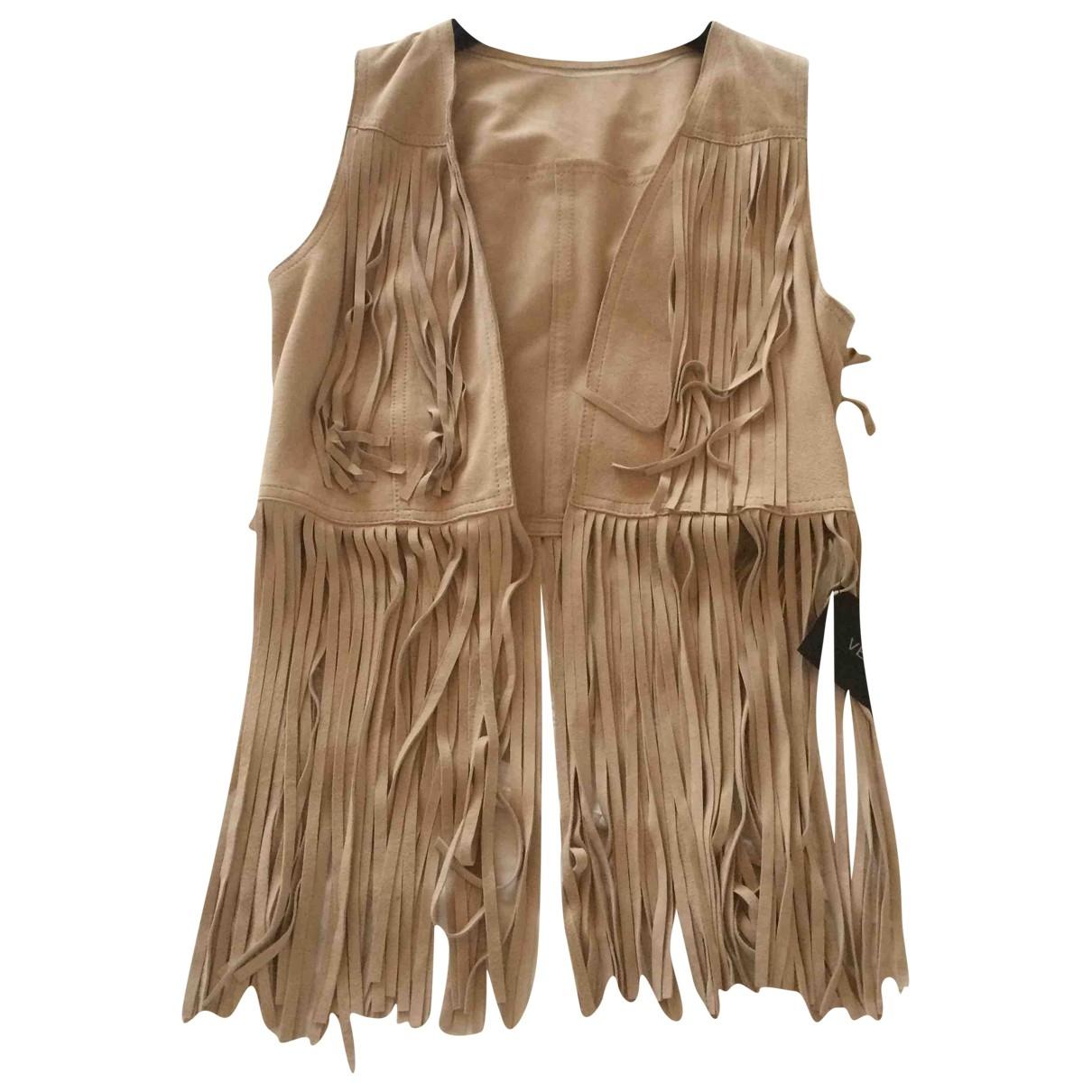 - Veste   pour femme en suede - beige
