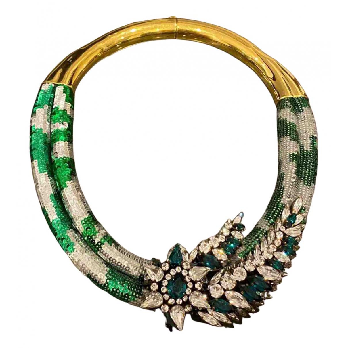 Shourouk N Green Metal necklace for Women N