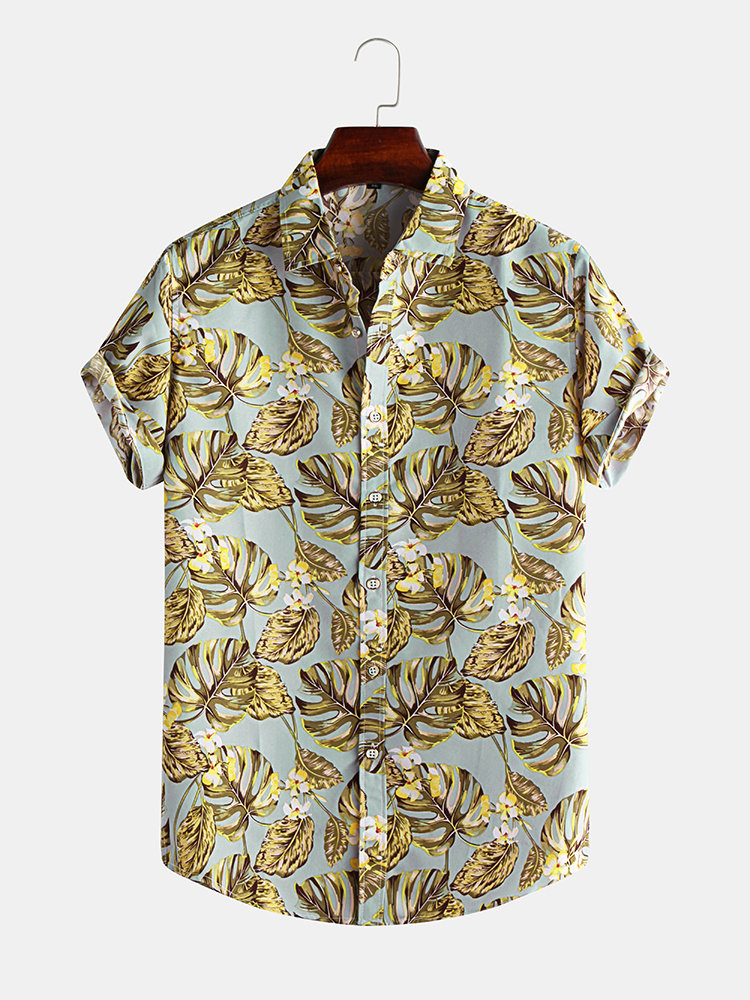 Mens Gold Leaf Printed Turn Down Collar Short Sleeve Shirts