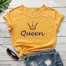 Gelb  Buchstaben  Laessig T-Shirts Grosse Grossen