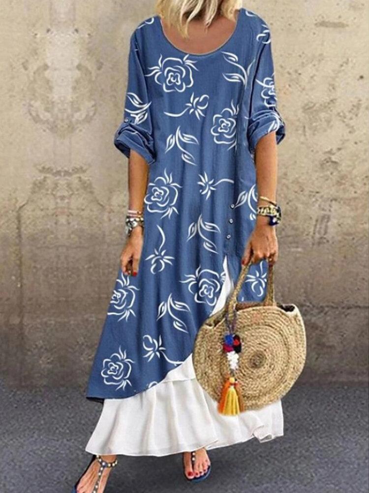 Flowers Print Patchwork Long Sleeve Dress