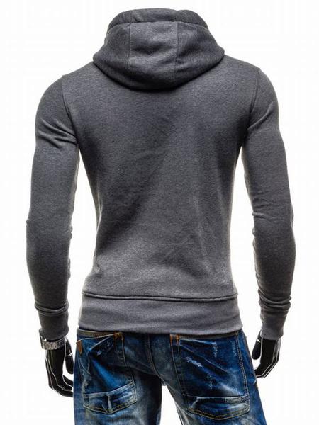 Milanoo Hoodie For Men Two Tone Hooded Drawstring Long Sleeve Pullover Casual Hoodie