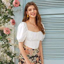 Zip Back Puff Sleeve Ruched Bust Milkmaid Top