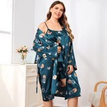 Plus Pineapple And Cat Print Slip Dress & Belted Robe