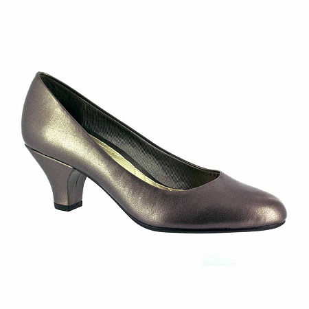Easy Street Womens Fabulous Pumps Cone Heel, 7 Wide, Gray
