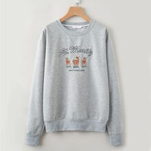 Letter Deer Embroidery Sweatshirt