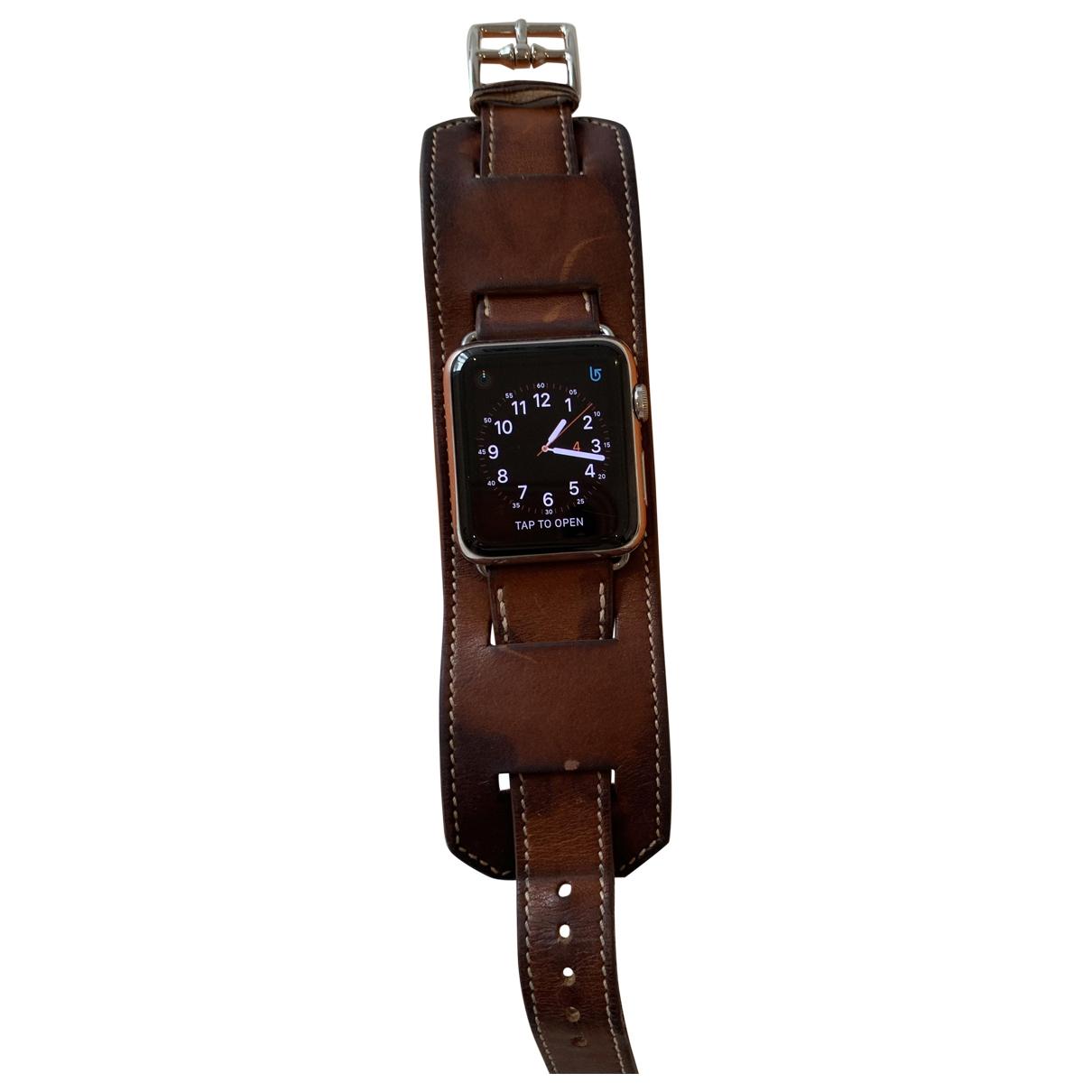 Hermes - Montre Apple Watch x Hermes 38mm pour femme en acier - camel