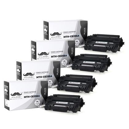 Compatible HP 55A CE255A Black Toner Cartridge - Moustache - 4/Pack