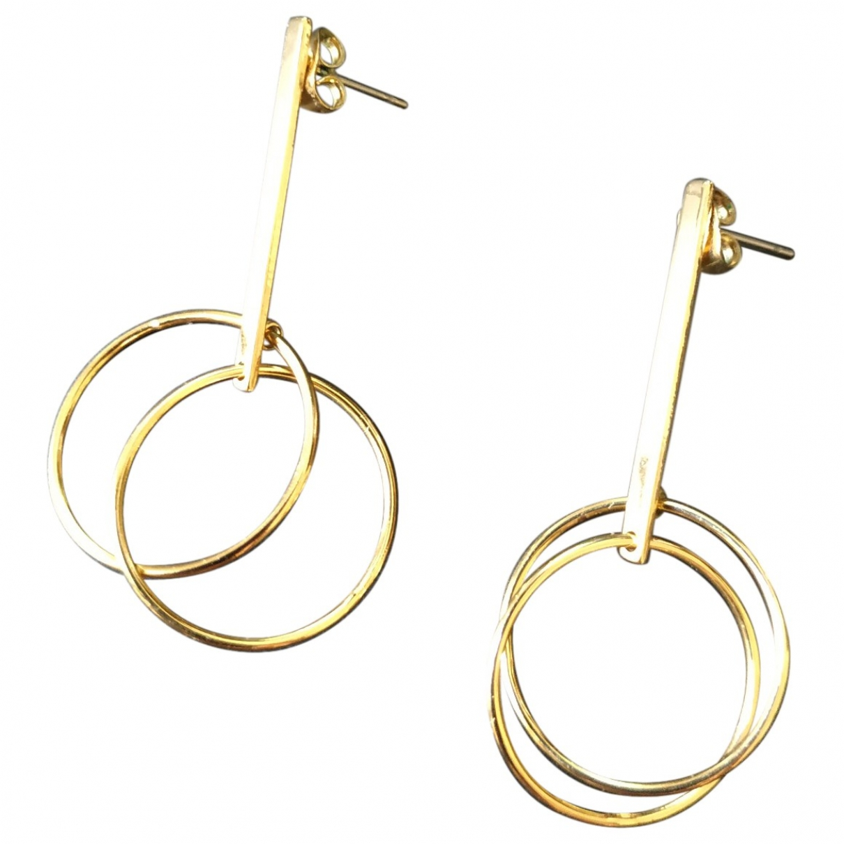 Non Signé / Unsigned \N Gold Steel Earrings for Women \N