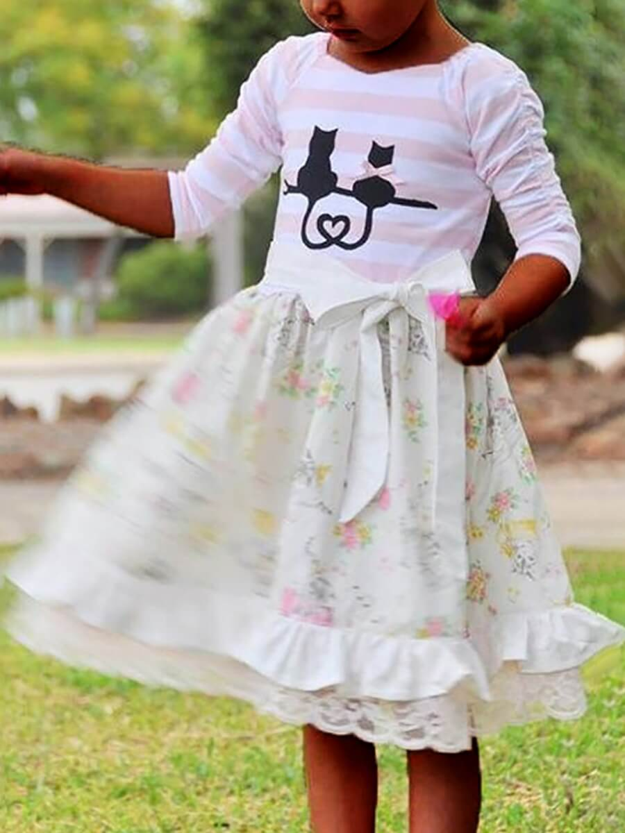 LW Lovely Trendy O Neck Print Patchwork Pink Girl Knee Length Dress