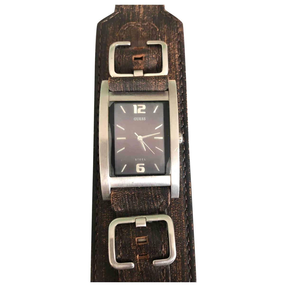 Guess \N Uhr in  Braun Stahl
