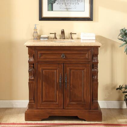 V0278TW36C 36 Single Sink Cabinet with 2 Doors  1 Interior Drawer  Travertine Top and Undermount White Ceramic Sink (3-Hole) in Brown