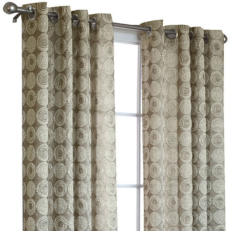 Mayan Energy Saving Light-Filtering Grommet-Top Single Curtain Panel, One Size , Yellow