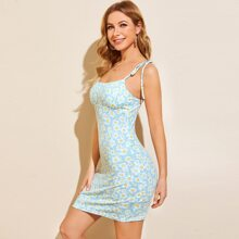 Knotted Strap Floral Bodycon Dress