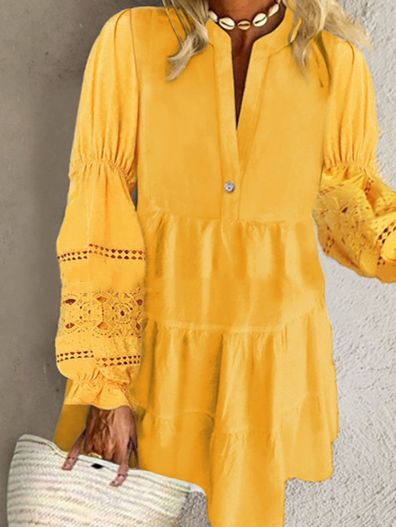 Ericdress Long Sleeve Above Knee Lace A-Line Pullover Dress