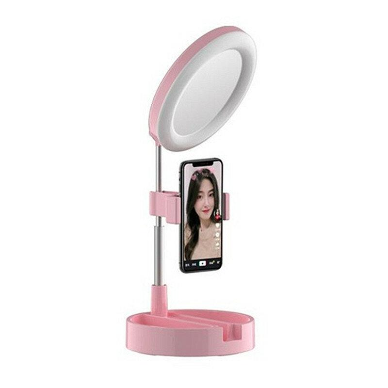 3 In 1 Dimmable LED Ring Light 6 Inch Folding Desktop Selfie Light Mirror Lamp for YouTube Tiktok Live Streaming Makeup