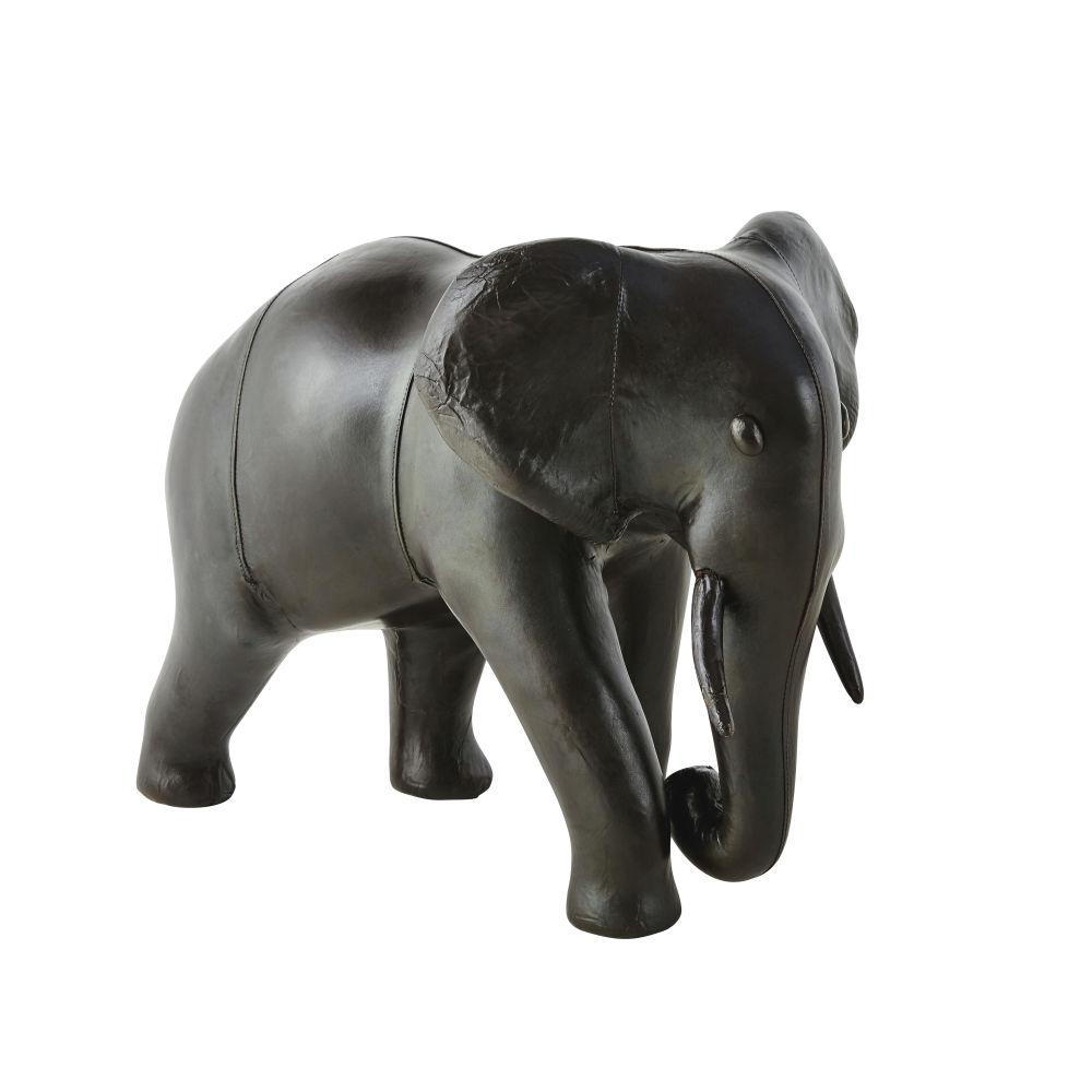 Figur Elefant aus Schafleder, braun H48