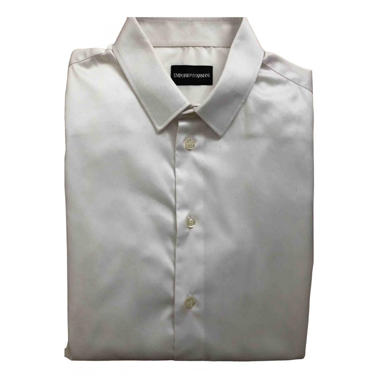 Emporio Armani N White Cotton Shirts for Men 40 EU (tour de cou / collar)