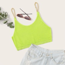 Neon Lime Chain Strap Crop Cami Knit Top