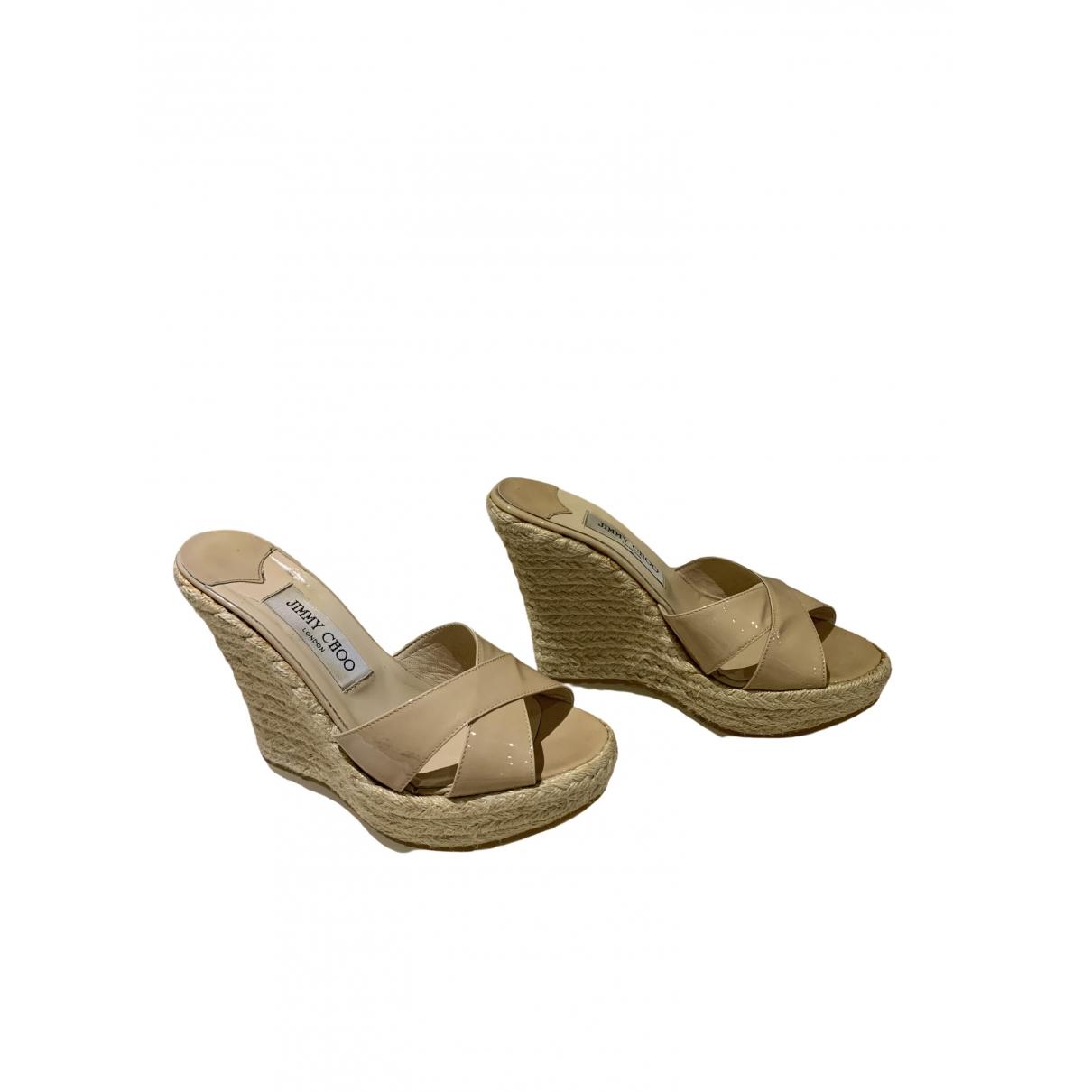 Jimmy Choo \N Beige Patent leather Heels for Women 37.5 EU