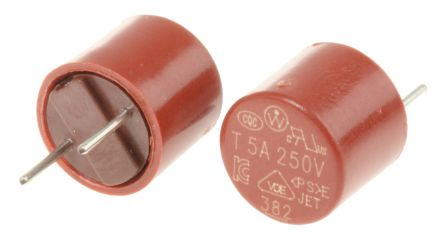 Wickmann 5A Radial T Leaded PCB Mount Fuse, 250V ac (10)