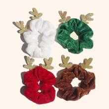 4 piezas goma de pelo de niñas con diseño de cornamentas de Navidad