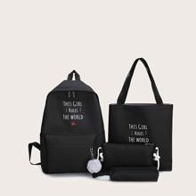 4 Stuecke Tasche Set mit Buchstaben Grafik