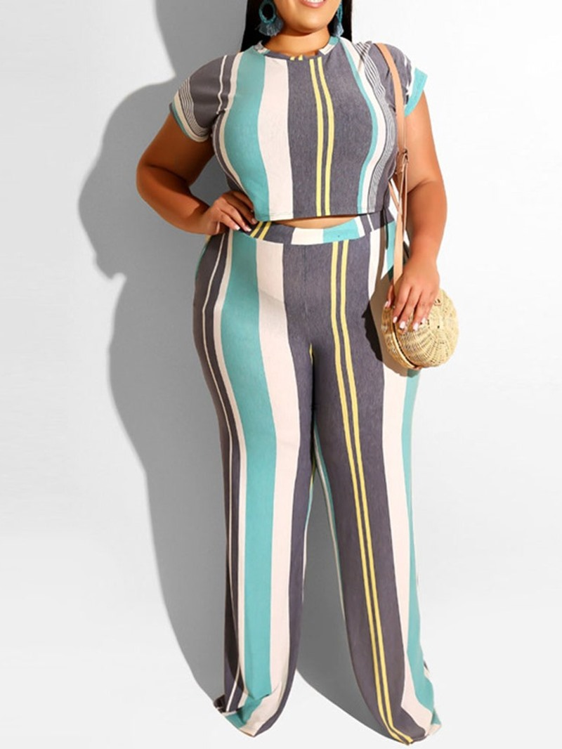Ericdress Plus Size Stripe Fashion Women's Suit T-Shirt And Pants Two Piece Sets