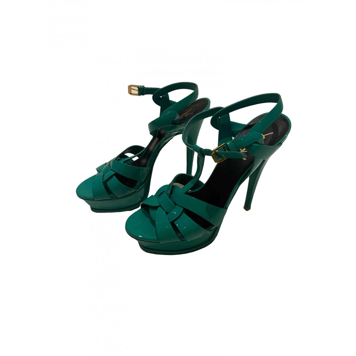 Yves Saint Laurent - Sandales Tribute pour femme en cuir verni - vert