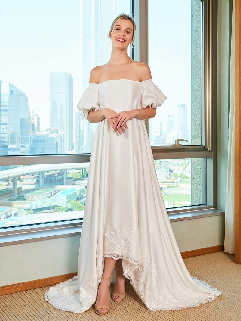 Ericdress Off the Shoulder Appliques High Low Wedding Dress
