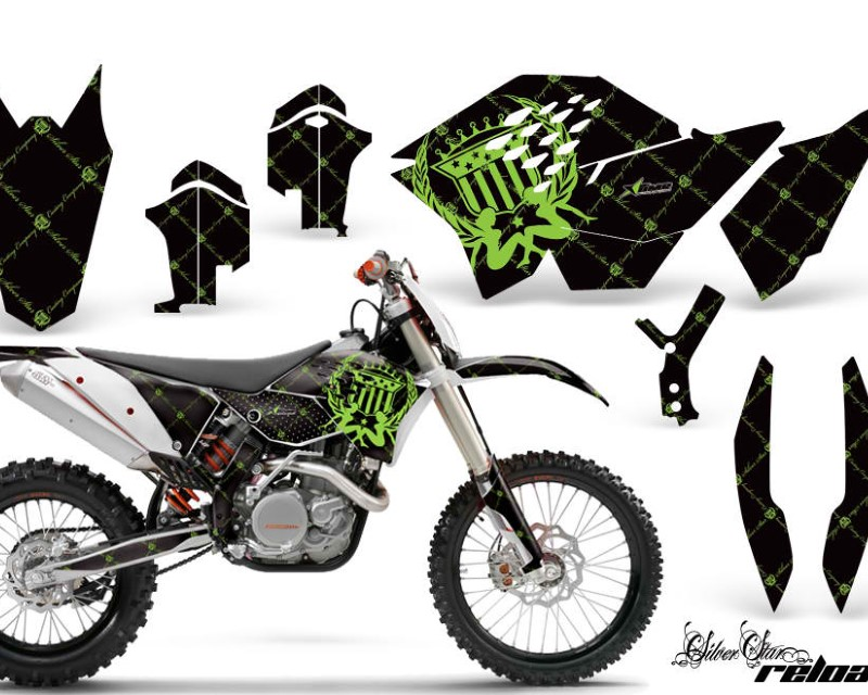 AMR Racing Dirt Bike Graphics Kit Decal Wrap For KTM SX/XCR-W/EXC/XC/XC-W/XCF-W 2007-2011áRELOADED GREEN BLACK