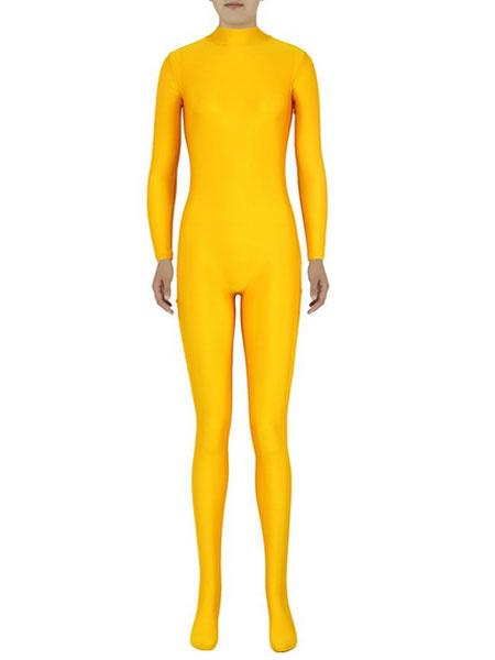 Milanoo Disfraz Halloween Zentai amarillo Sexy traje de Spandex para mujeres Halloween