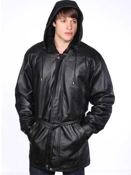 Mens Black Classic Leather Removable Belt Jacket With Zip Out Hood
