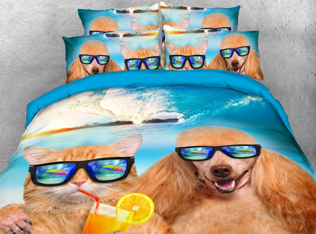 Dog and Cat on Holiday 3D 4pcs Animal No-fading Bedding Sets Soft Durable Zipper Duvet Cover with Non-slip Ties