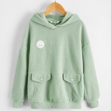 Girls Patched Detail Flap Detail Teddy Hoodie
