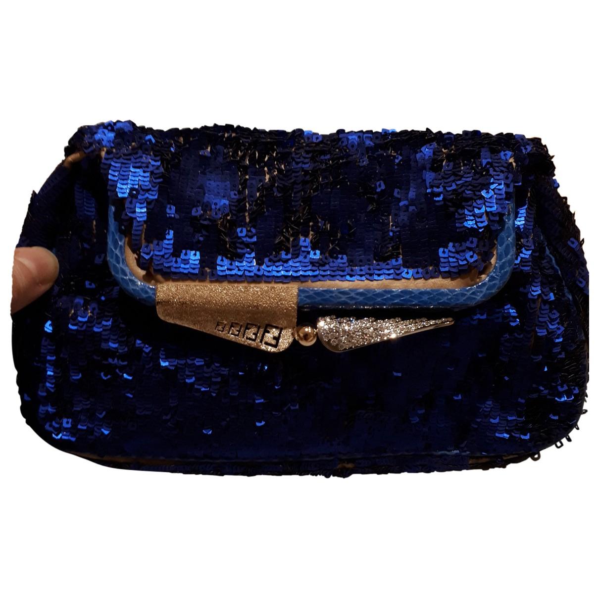 Fendi \N Clutch in  Blau Mit Pailletten