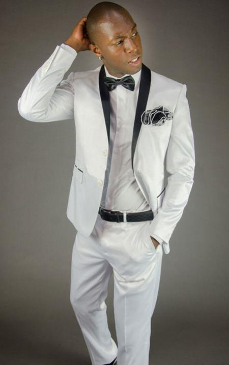 Mens 2 Button White Shawl Lapel Slim Fit Tuxedo