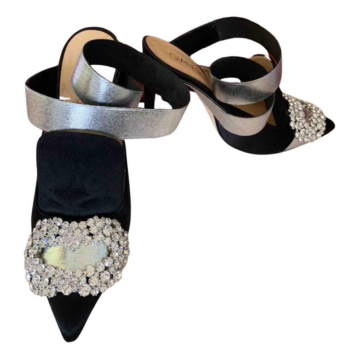 Giannico N Black Leather Heels for Women 37 EU