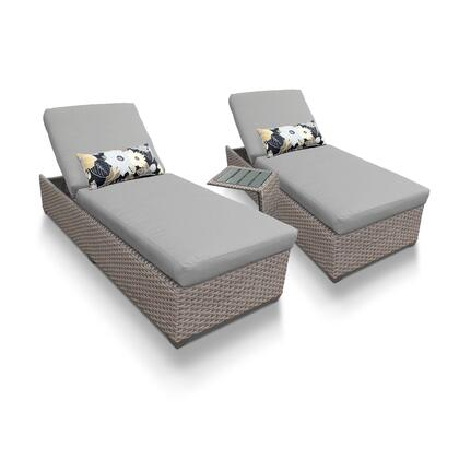OASIS-2x-ST-GREY Oasis Chaise Set of 2 Outdoor Wicker Patio Furniture With Side Table with 2 Covers: Grey and