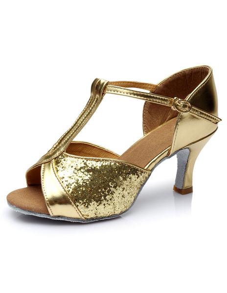 Milanoo Latin Dance Shoes Glitter Open Toe T Type Dancing Shoes Gold Ballroom Shoes